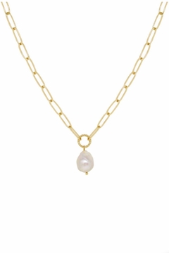 Ettika Single Pearl Links 18k Gold Plated Chain Necklace - Alternate List Image