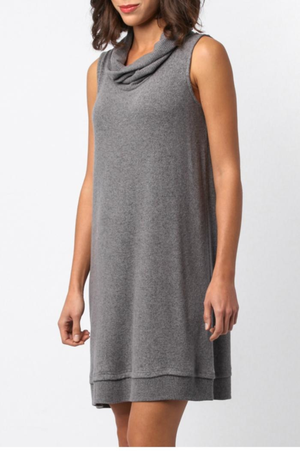 Sinuous Sleeveless Cowl Neck Dress - Front Full Image