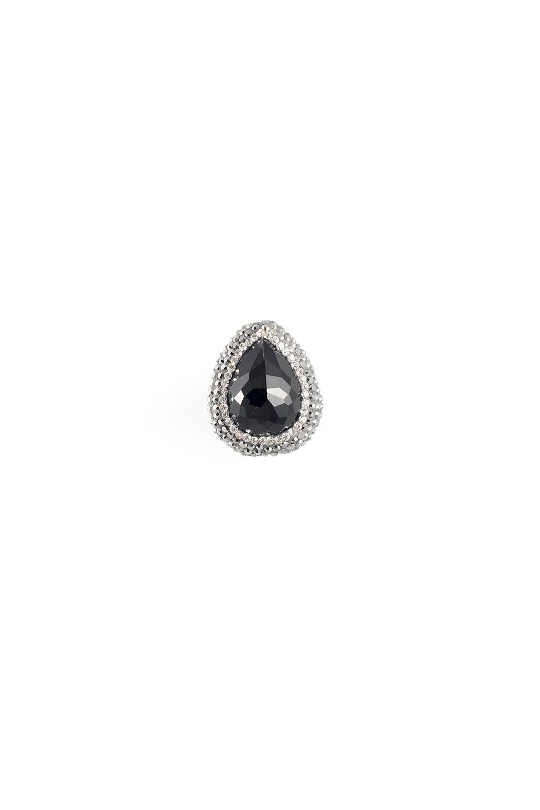 Sioro Jewelry Black Teardrop Ring - Front Cropped Image