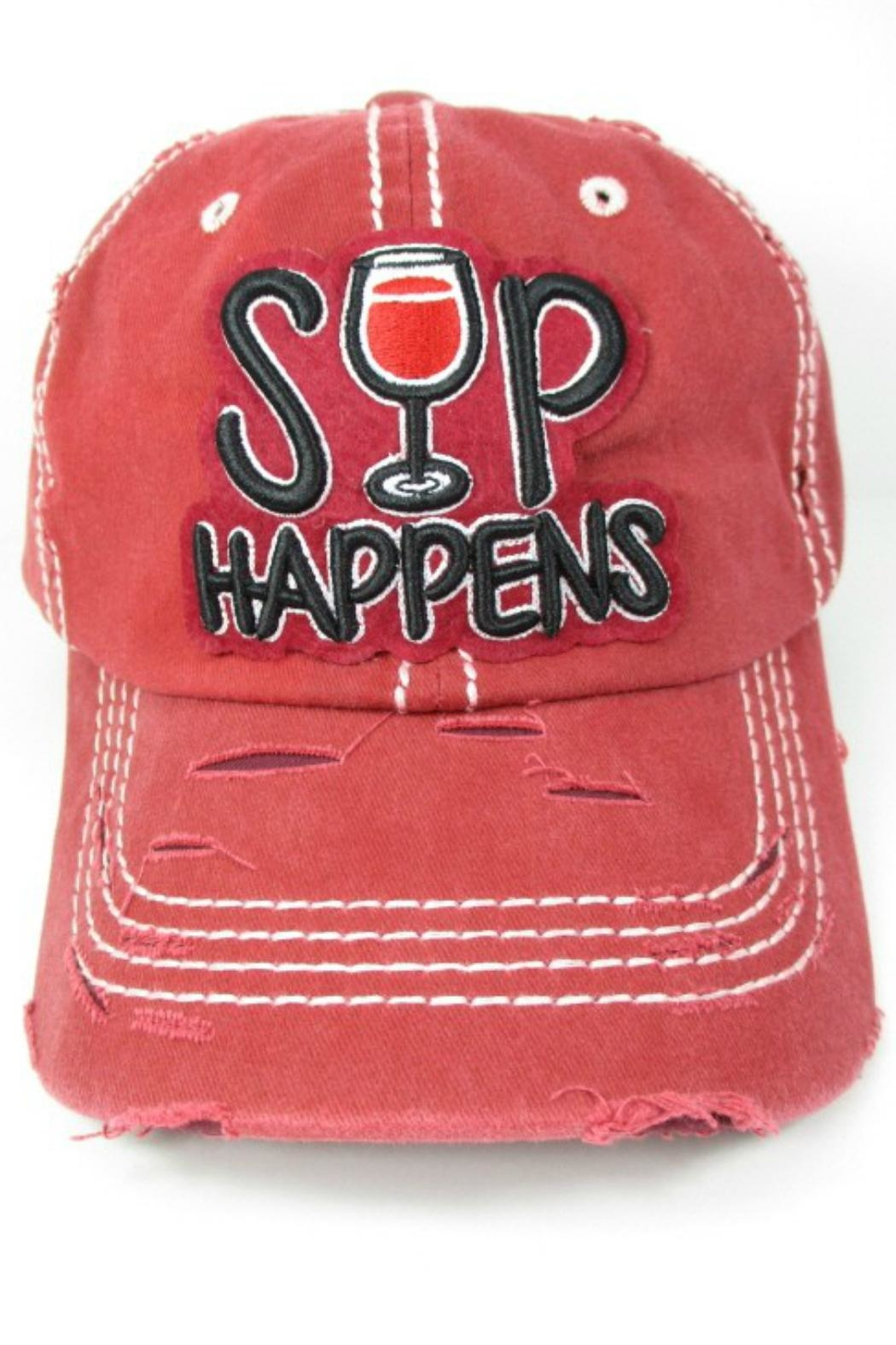 Imagine That Sip Happens Hat - Front Cropped Image