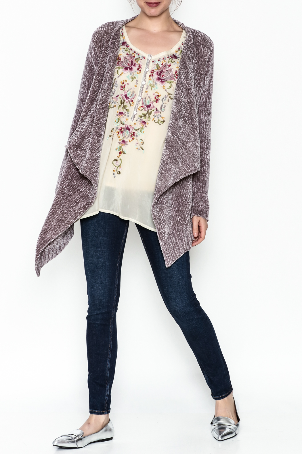 sisters Super Soft Chenille Cardi - Side Cropped Image
