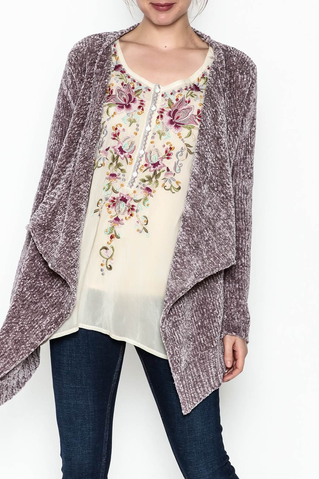 sisters Super Soft Chenille Cardi - Front Cropped Image