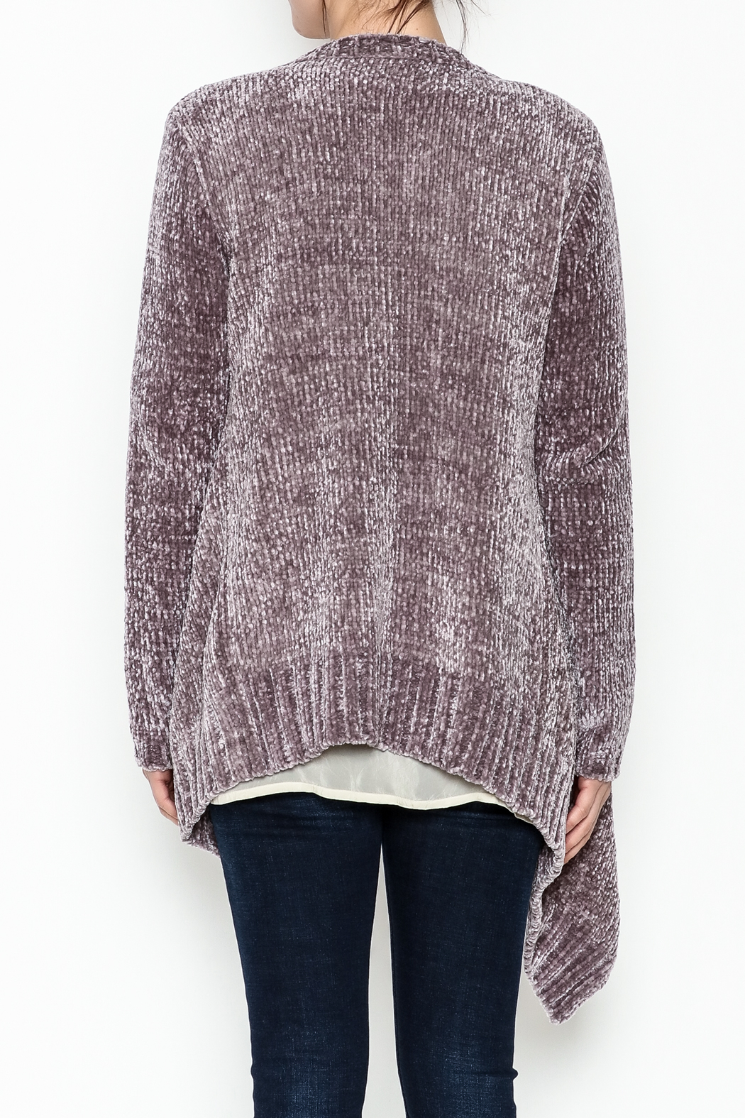 sisters Super Soft Chenille Cardi - Back Cropped Image