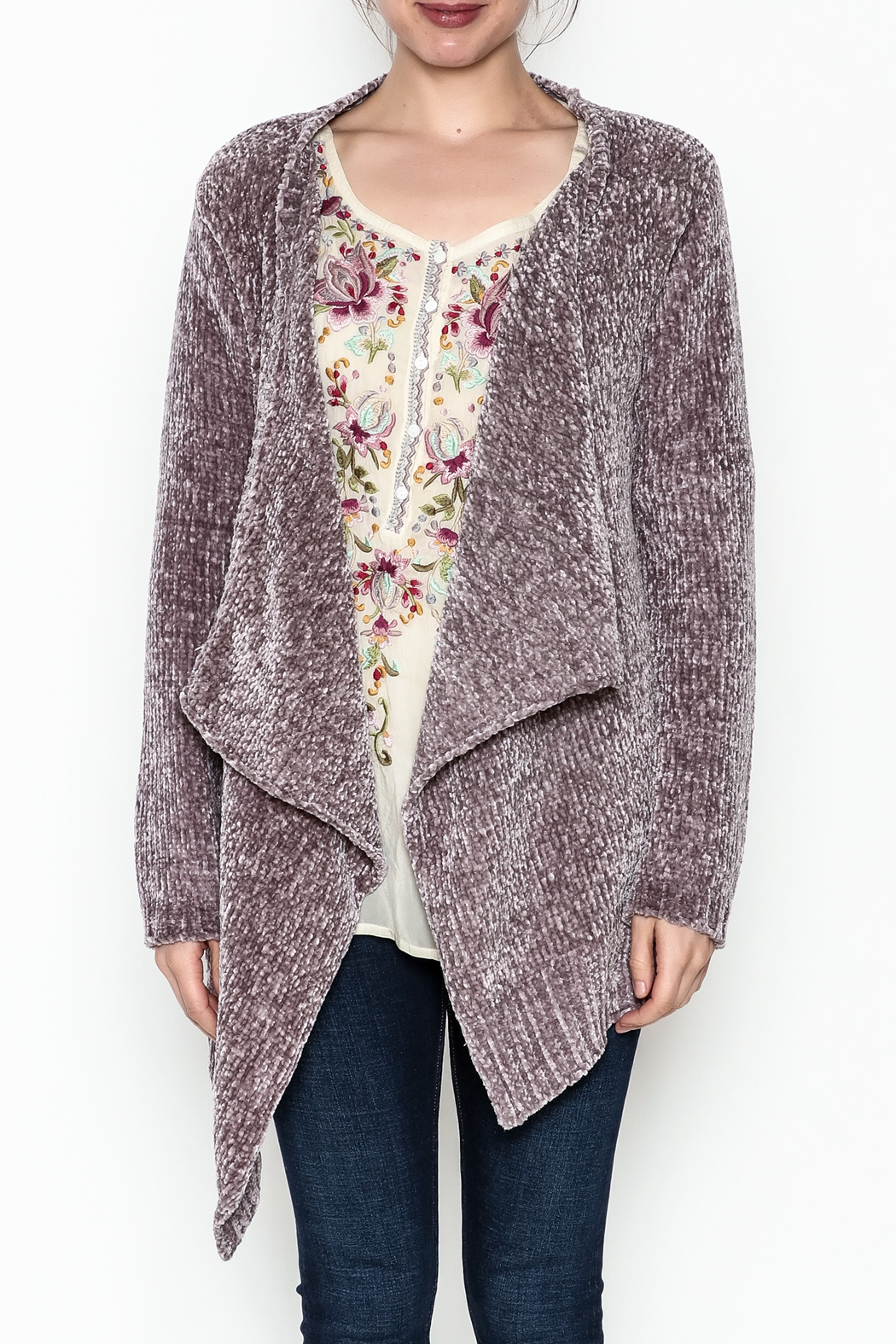 sisters Super Soft Chenille Cardi - Front Full Image
