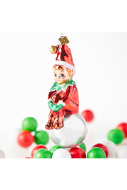 RAZ Imports Sitting Elf Glass Ornament - Product Mini Image