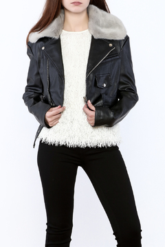 Shoptiques Product: Faux Fur Collar Moto Jacket