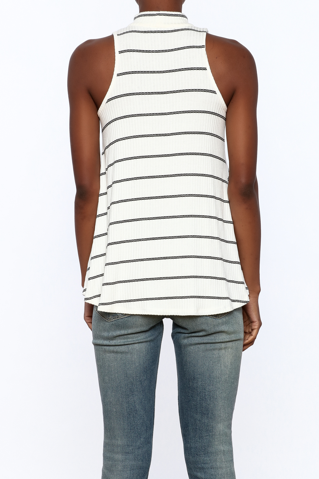 Six Fifty Stripe Print Sleeveless Top - Back Cropped Image