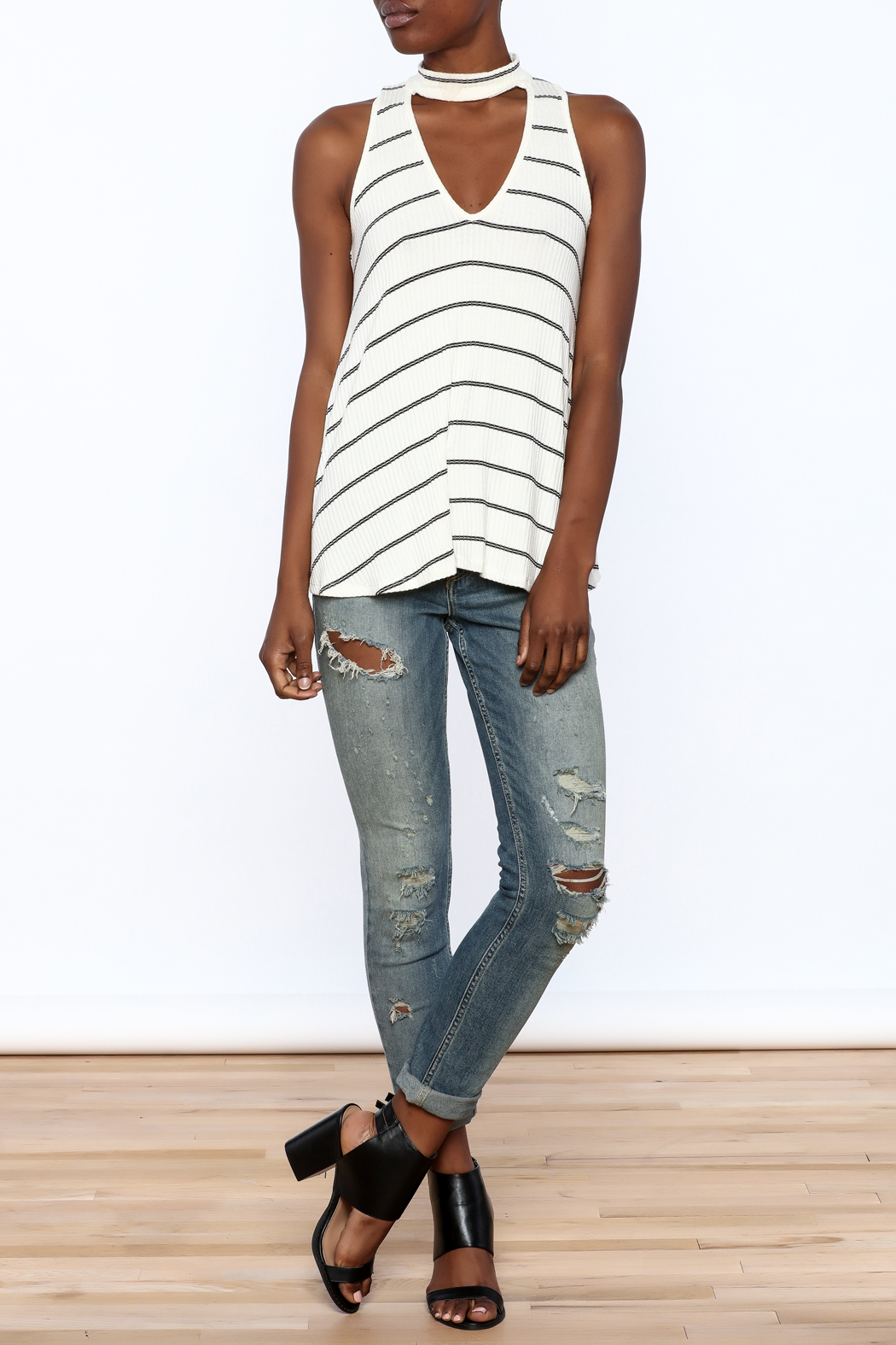 Six Fifty Stripe Print Sleeveless Top - Front Full Image