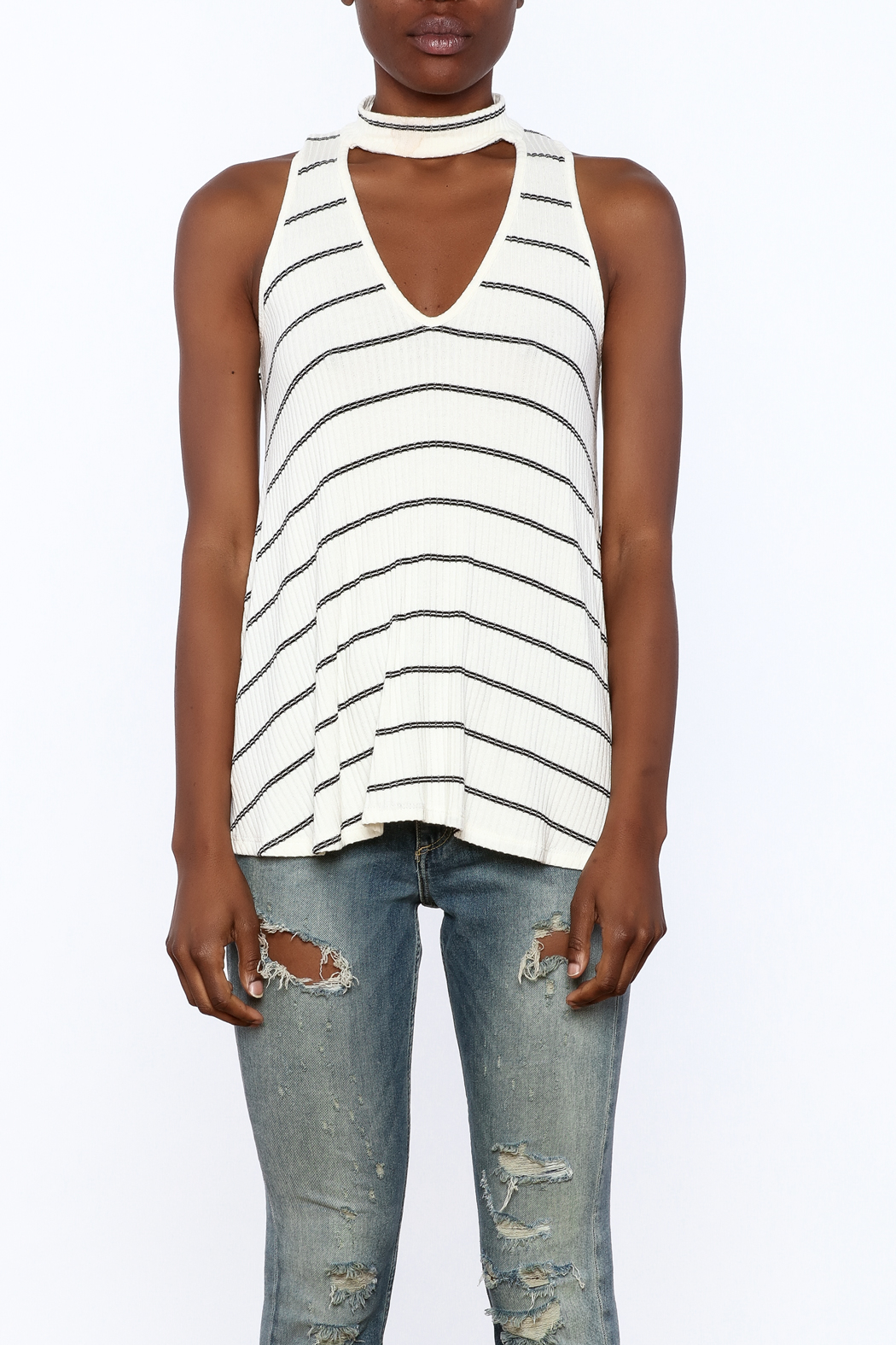 Six Fifty Stripe Print Sleeveless Top - Side Cropped Image