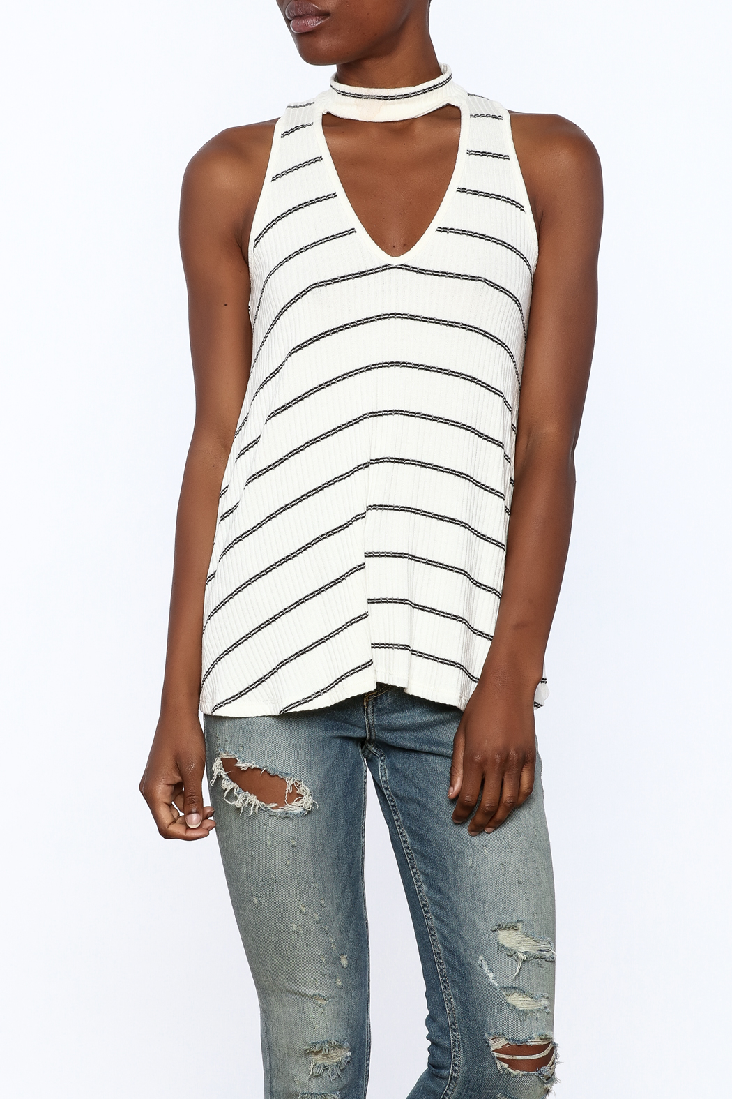 Six Fifty Stripe Print Sleeveless Top - Front Cropped Image