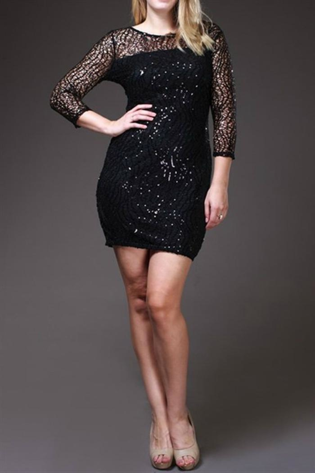 SJ Style Black Sequin-Plus Size - Front Cropped Image