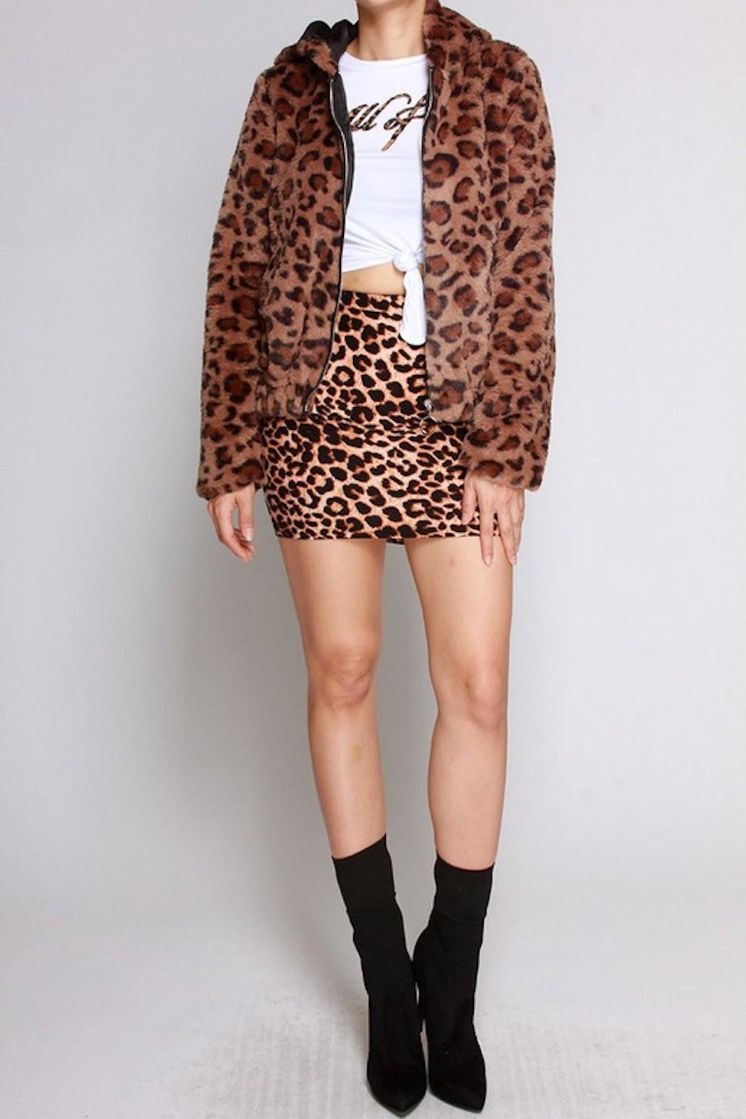SJ Style Leopard Hoodie Coat - Front Cropped Image