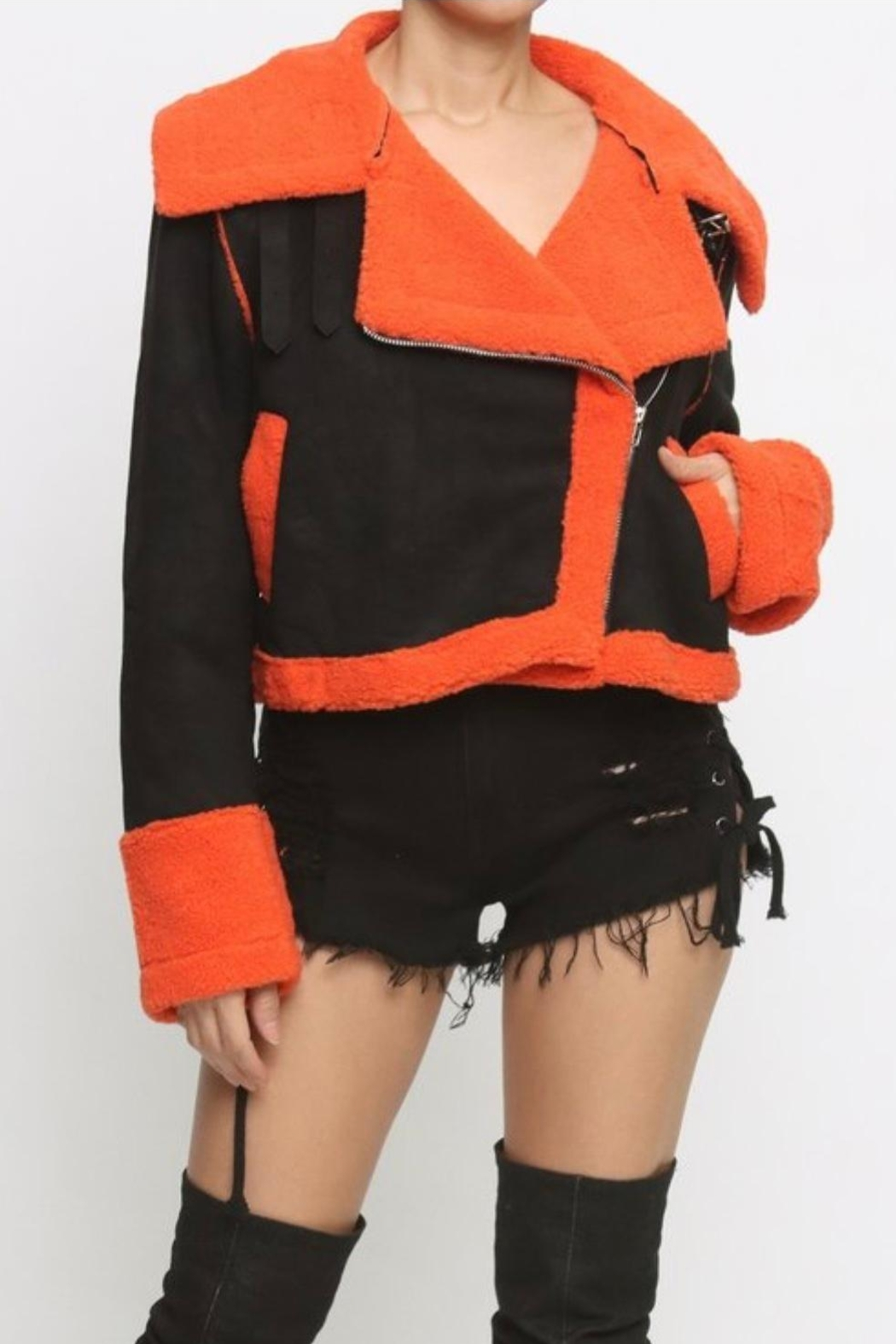 SJK  Orange Faux Shearling - Front Cropped Image