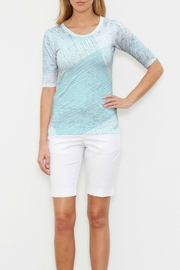 Whimsy Rose Sketch Aqua Elbow Slv Crew - Product Mini Image