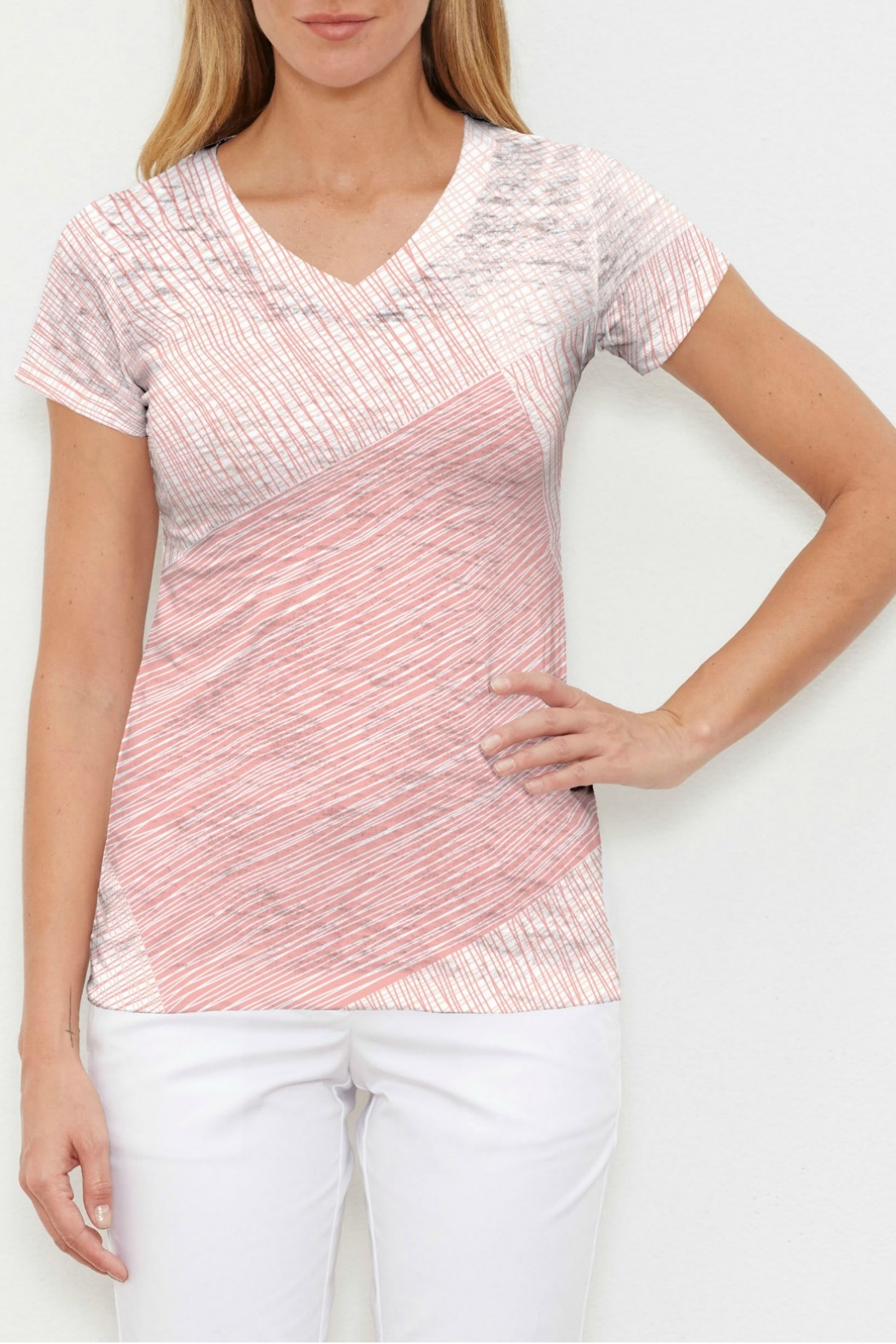 Whimsy Rose Sketch Coral V-Neck Tee - Main Image