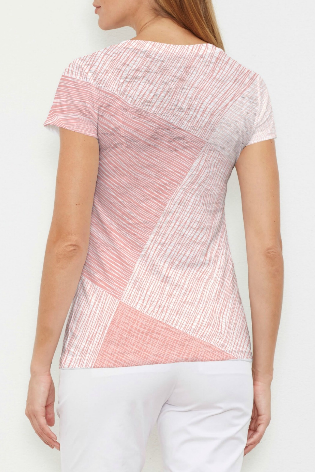 Whimsy Rose Sketch Coral V-Neck Tee - Front Full Image