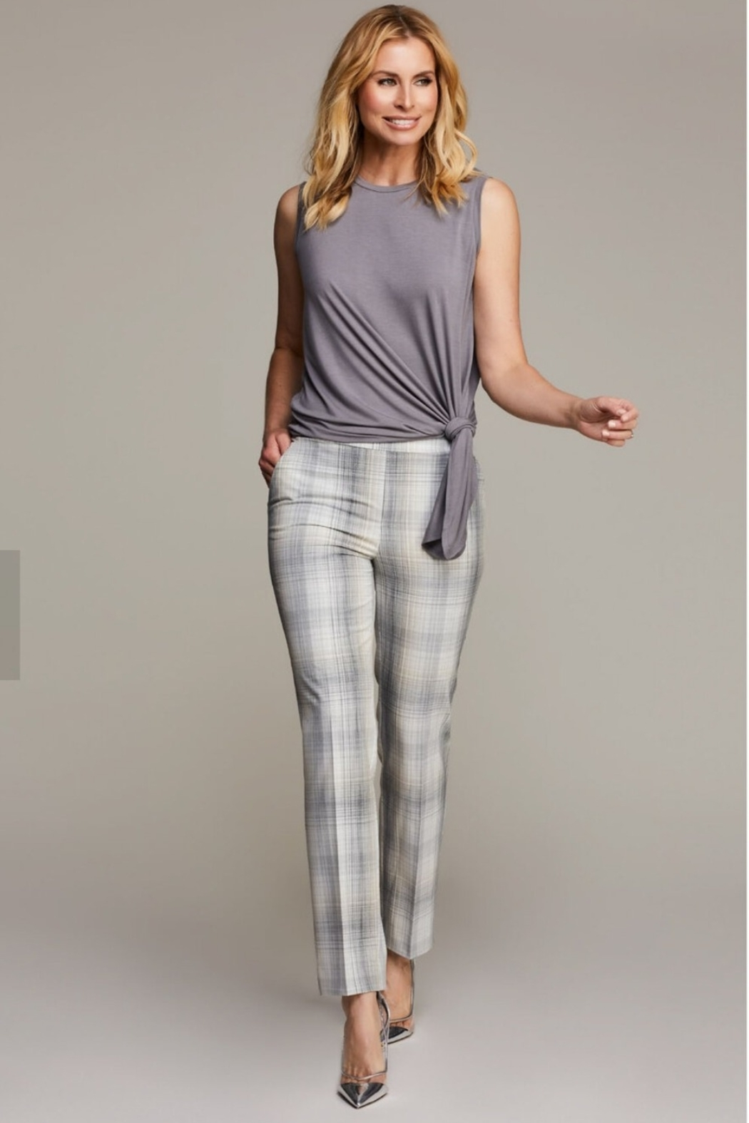 Up! Sketch Plaid Eco-Friendly Pull-On Trouser, Haze - Front Cropped Image