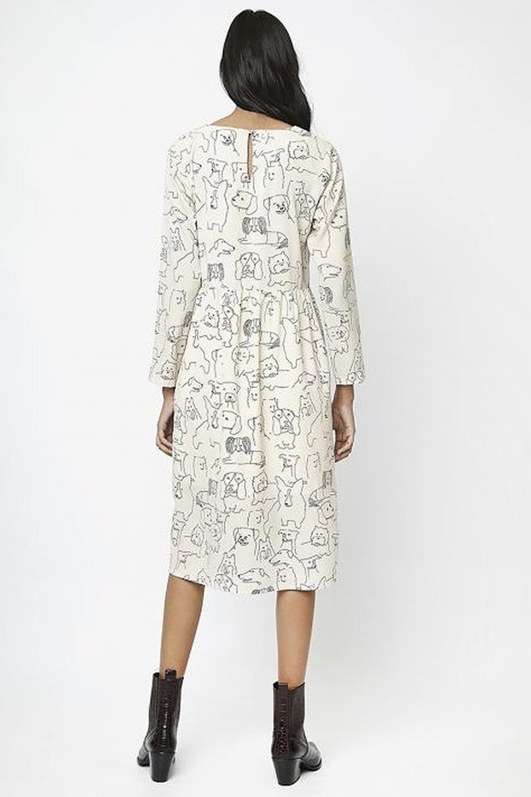 Compania Fantastica Sketched Dogs Dress - Front Full Image