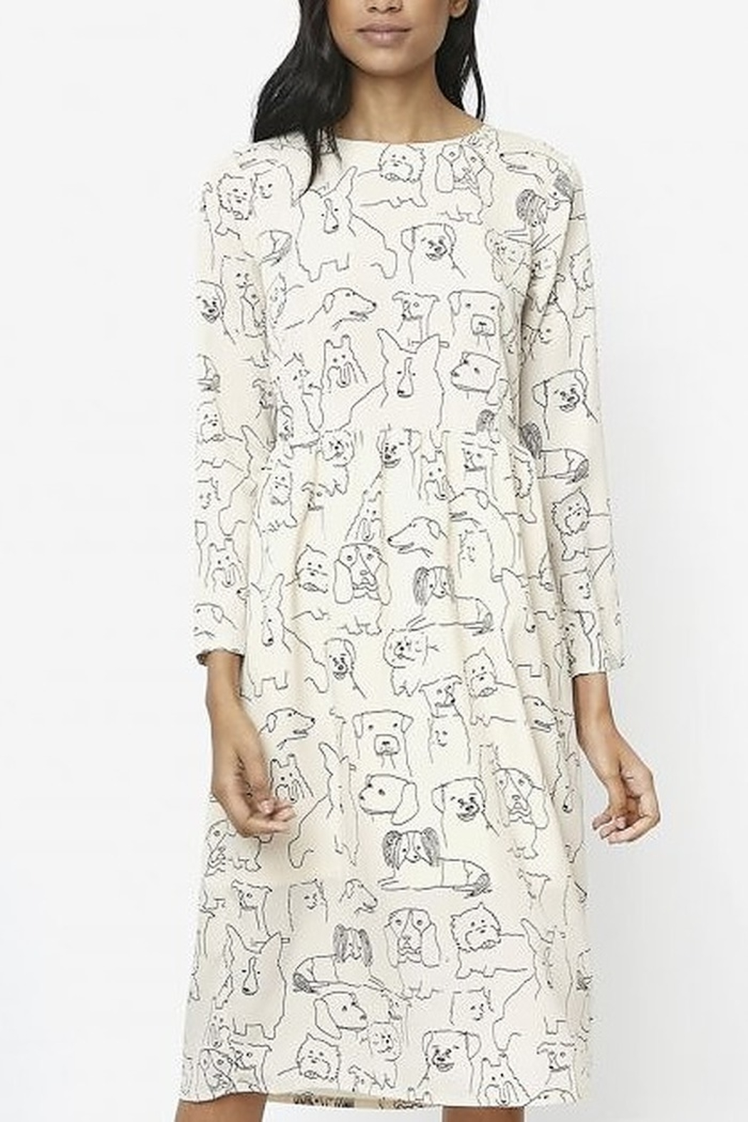 Compania Fantastica Sketched Dogs Dress - Main Image