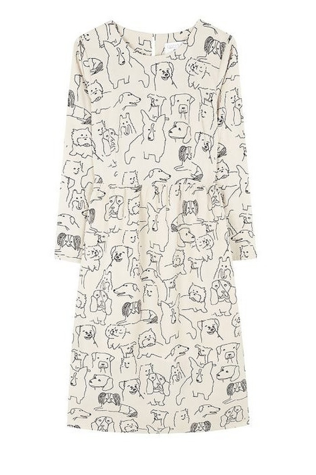 Compania Fantastica Sketched Dogs Dress - Back Cropped Image