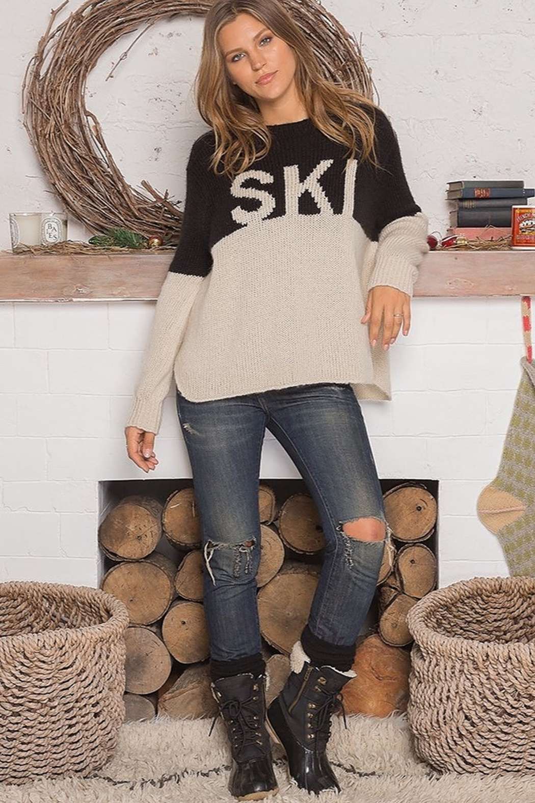 Wooden Ships SKI COLORBLOCK SWEATER - Side Cropped Image