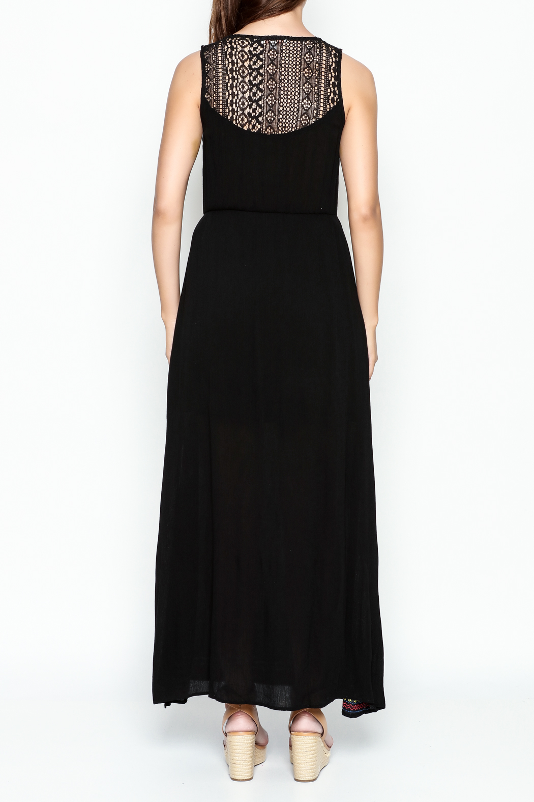 Skies Are Blue Black Maxi Dress - Back Cropped Image