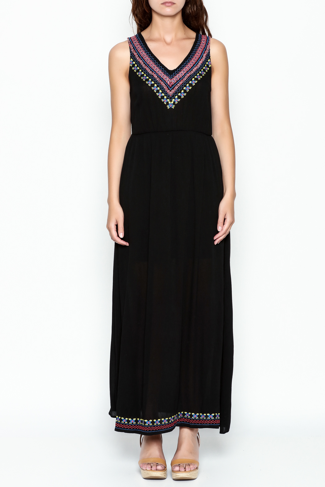 Skies Are Blue Black Maxi Dress - Front Full Image