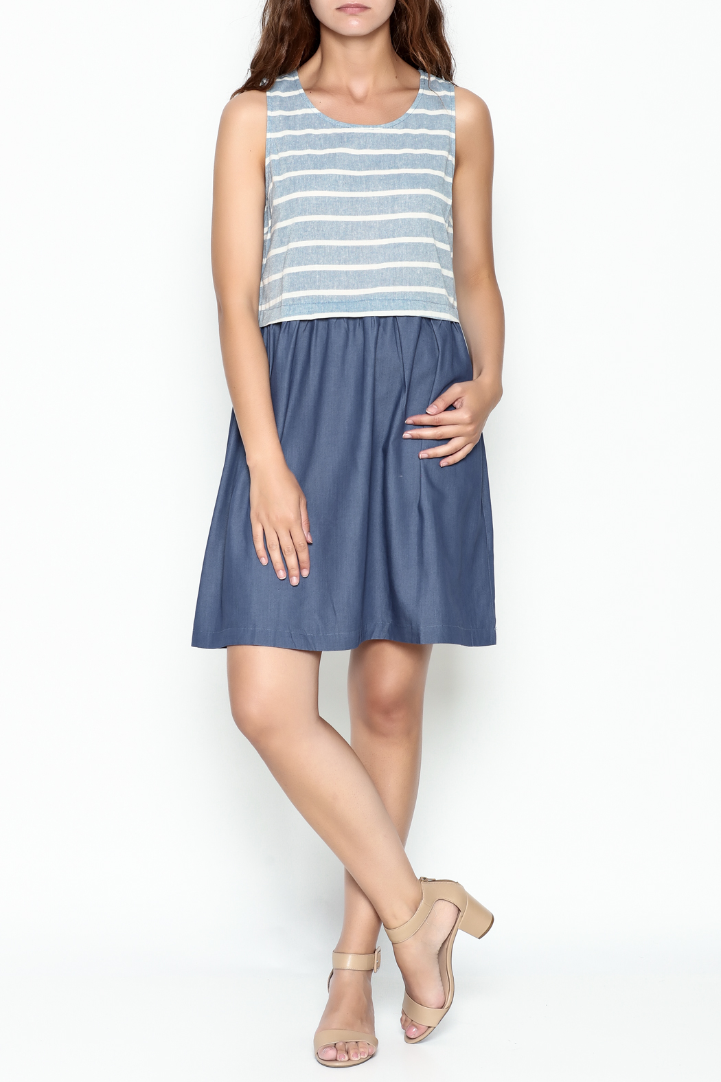 Skies Are Blue Blue And White Dress - Side Cropped Image