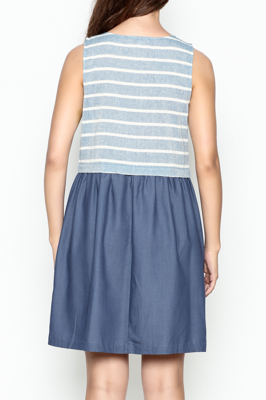 Skies Are Blue Blue And White Dress - Back Cropped Image