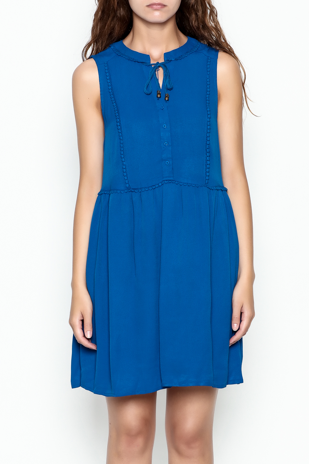 Skies Are Blue Blue Button Up Dress - Front Full Image