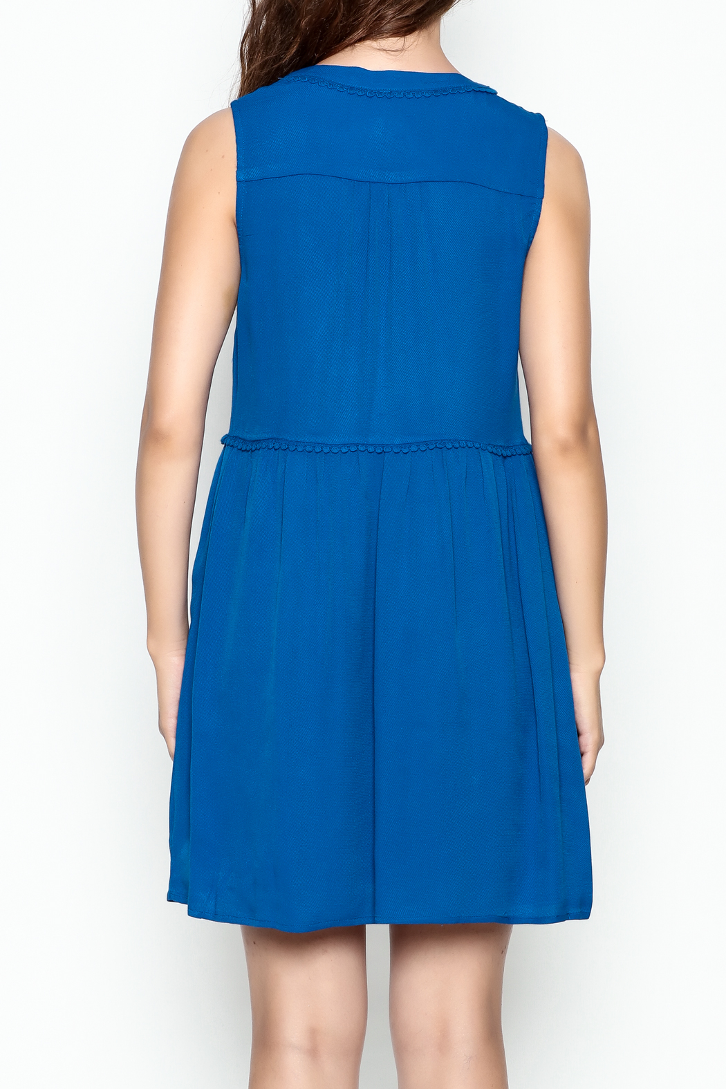 Skies Are Blue Blue Button Up Dress - Back Cropped Image