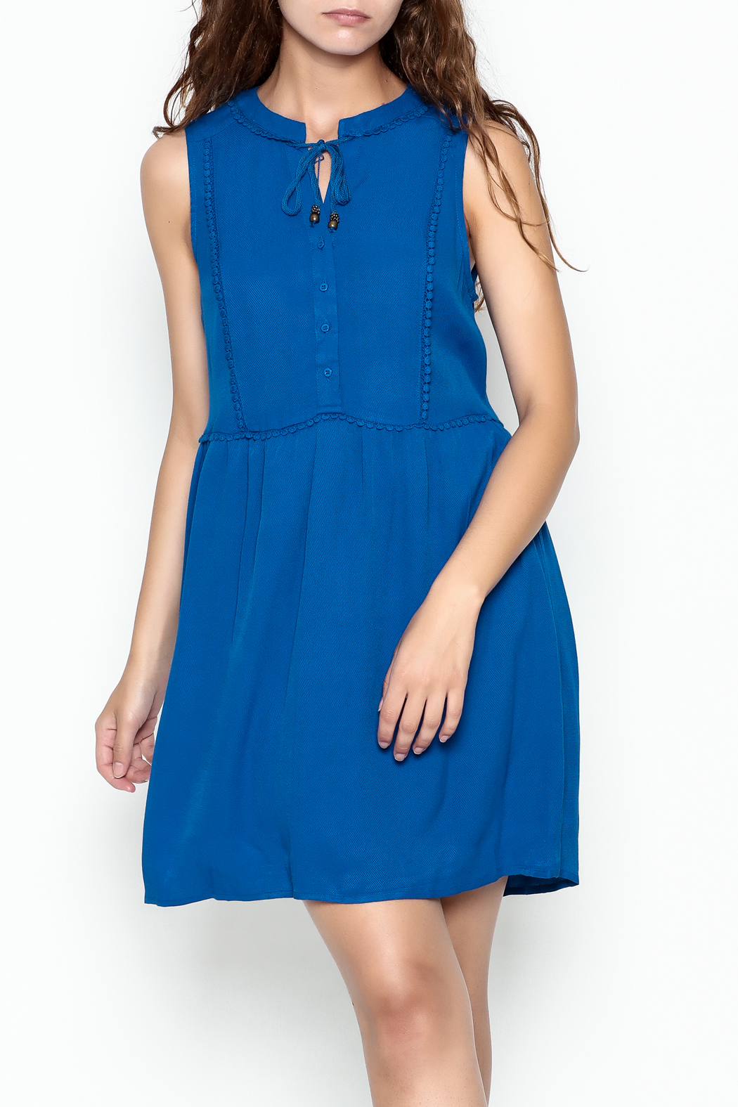 Skies Are Blue Blue Button Up Dress - Main Image