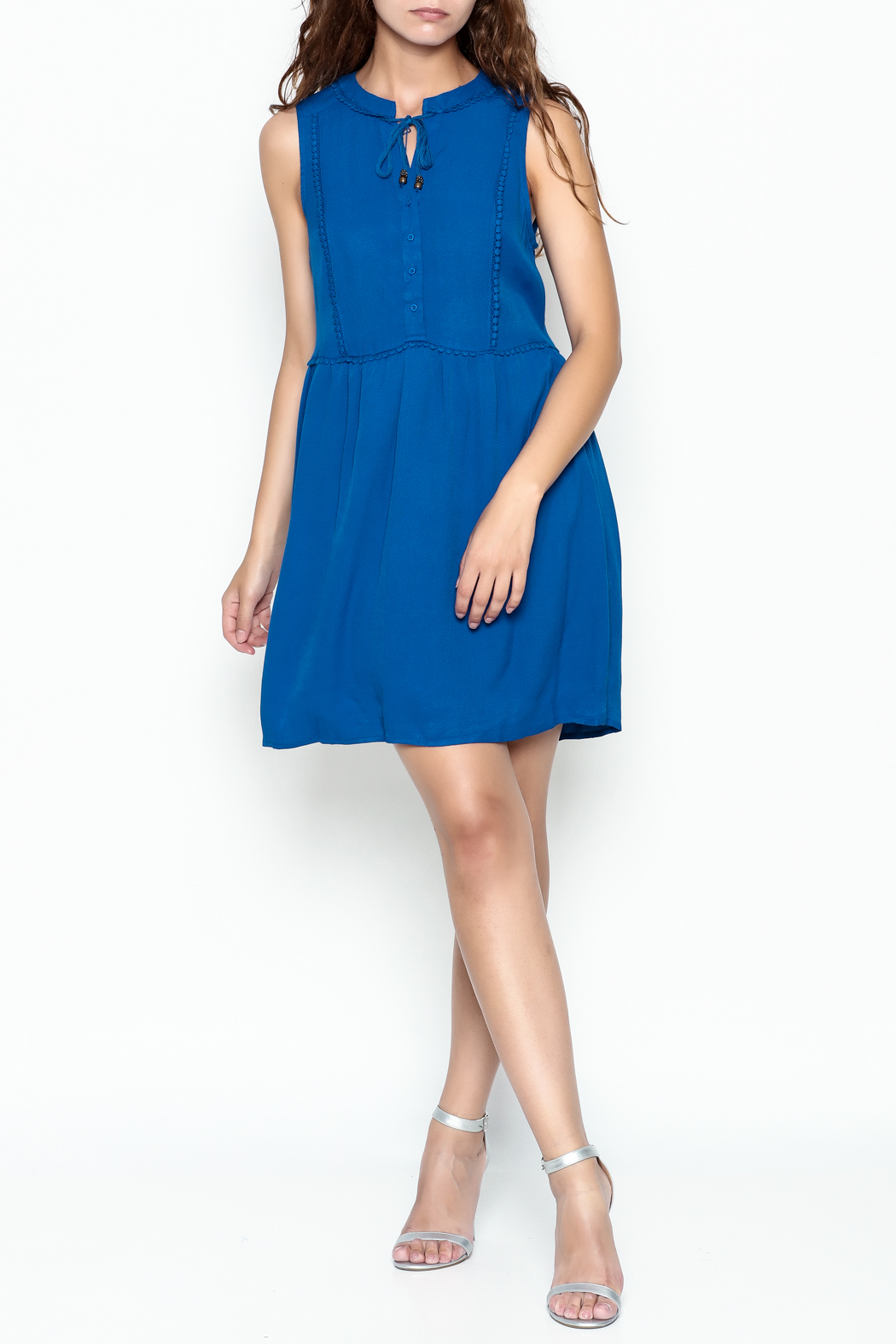 Skies Are Blue Blue Button Up Dress - Side Cropped Image