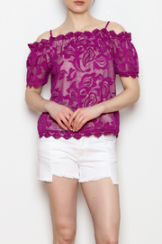 Skies Are Blue Cold Shoulder Lace Top - Product Mini Image