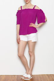 Skies Are Blue Cold Shoulder Top - Front full body