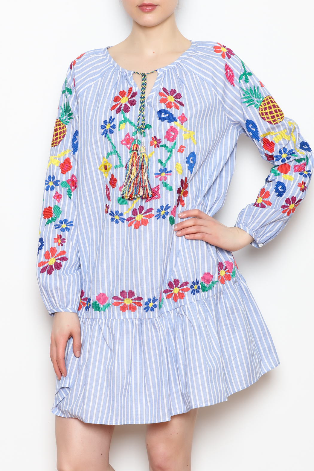 Skies Are Blue Embroidered Detail Dress - Main Image