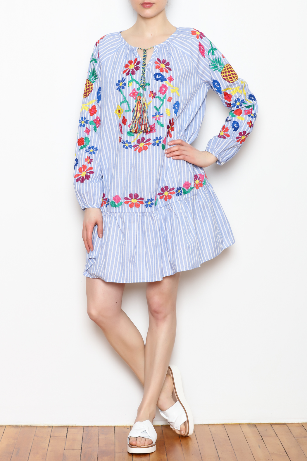 Skies Are Blue Embroidered Detail Dress - Front Full Image