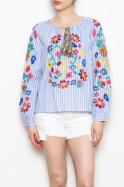 Skies Are Blue Floral Embroidered Top - Product Mini Image