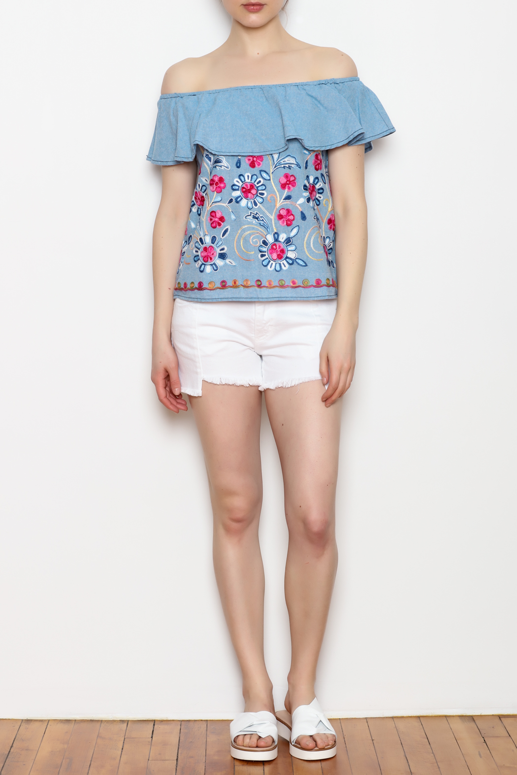 Skies Are Blue Floral Embroidery Top - Front Full Image