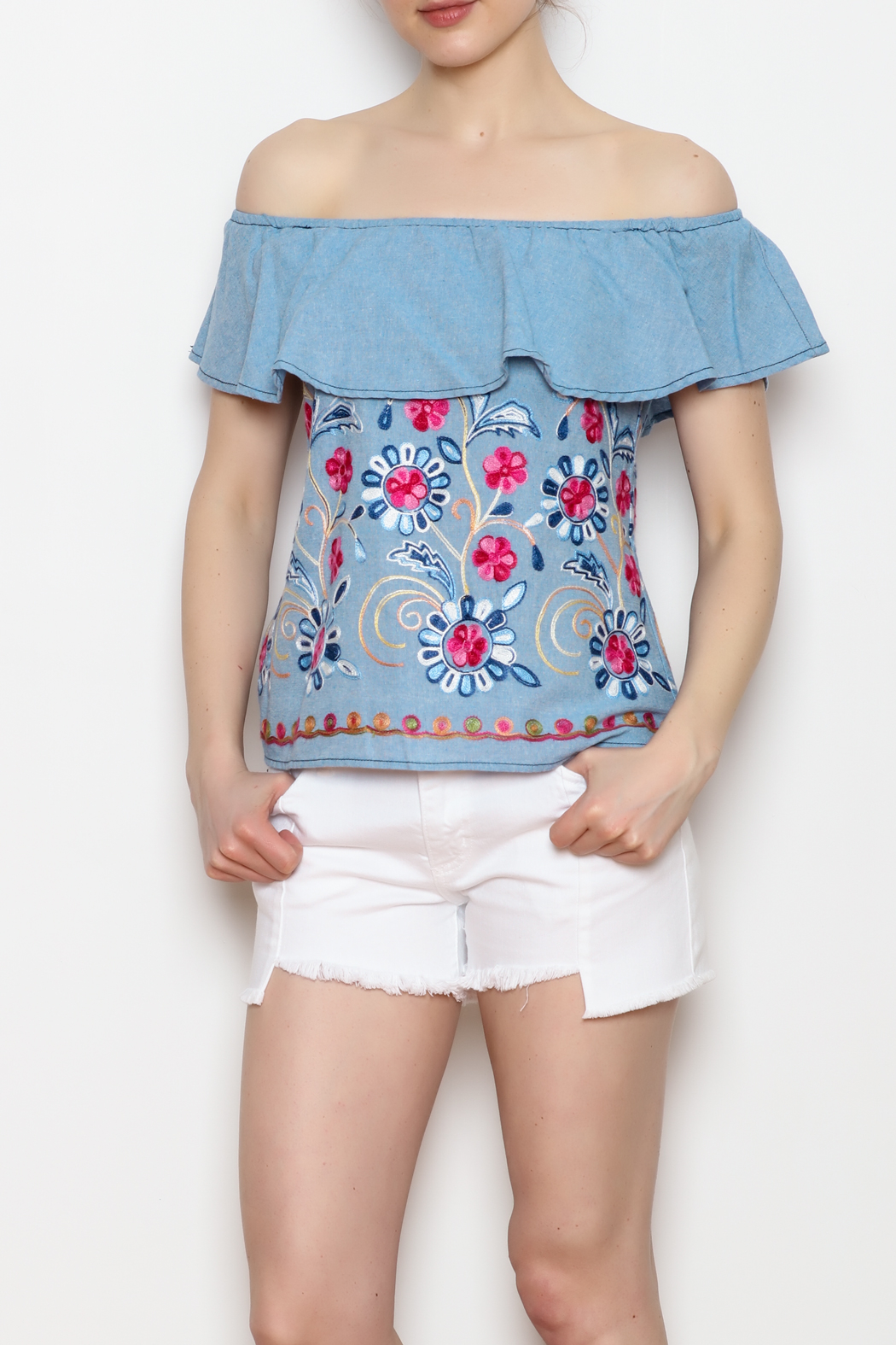 Skies Are Blue Floral Embroidery Top - Side Cropped Image