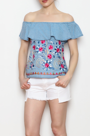 Skies Are Blue Floral Embroidery Top - Side cropped