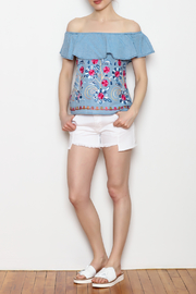 Skies Are Blue Floral Embroidery Top - Other