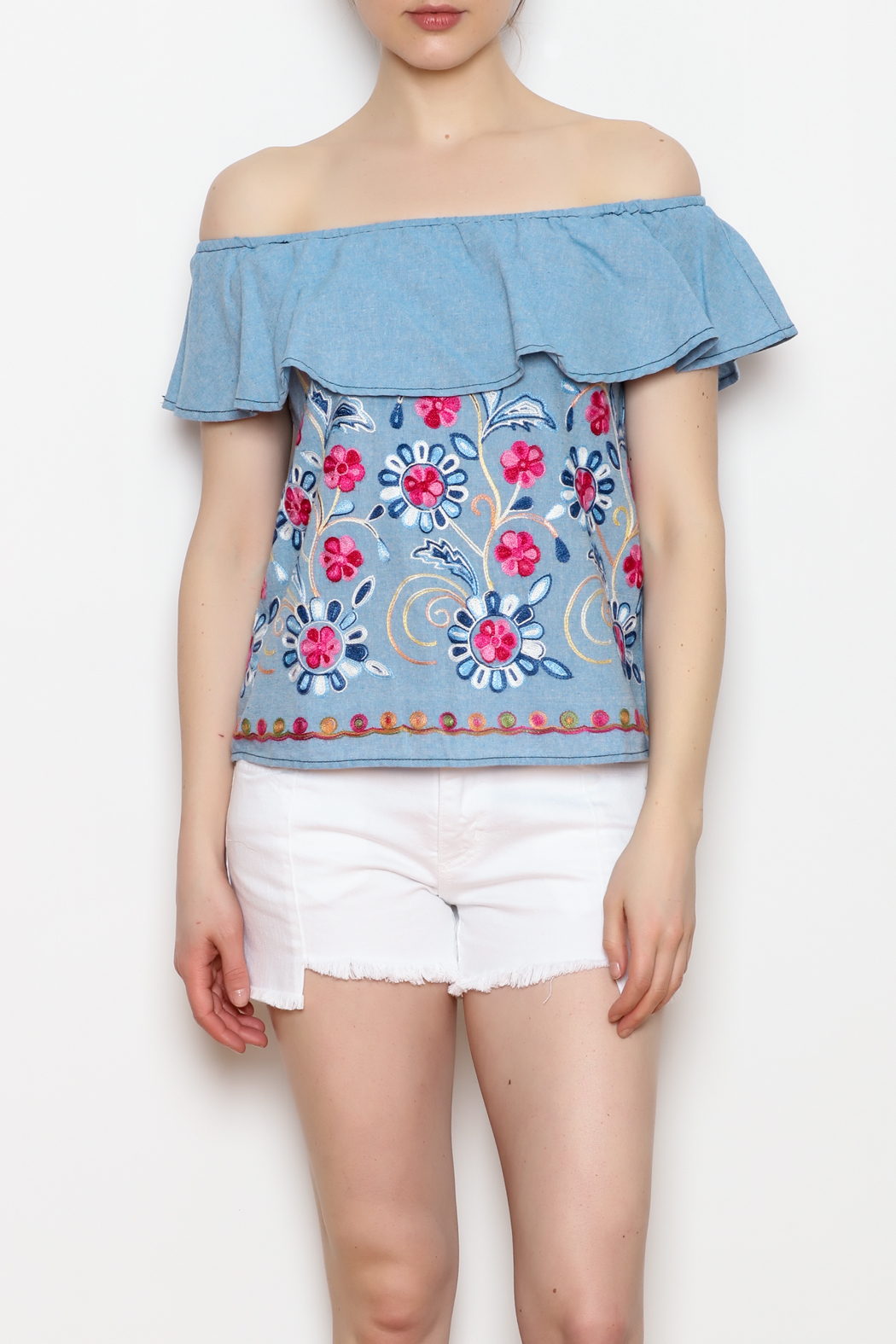 Skies Are Blue Floral Embroidery Top - Main Image
