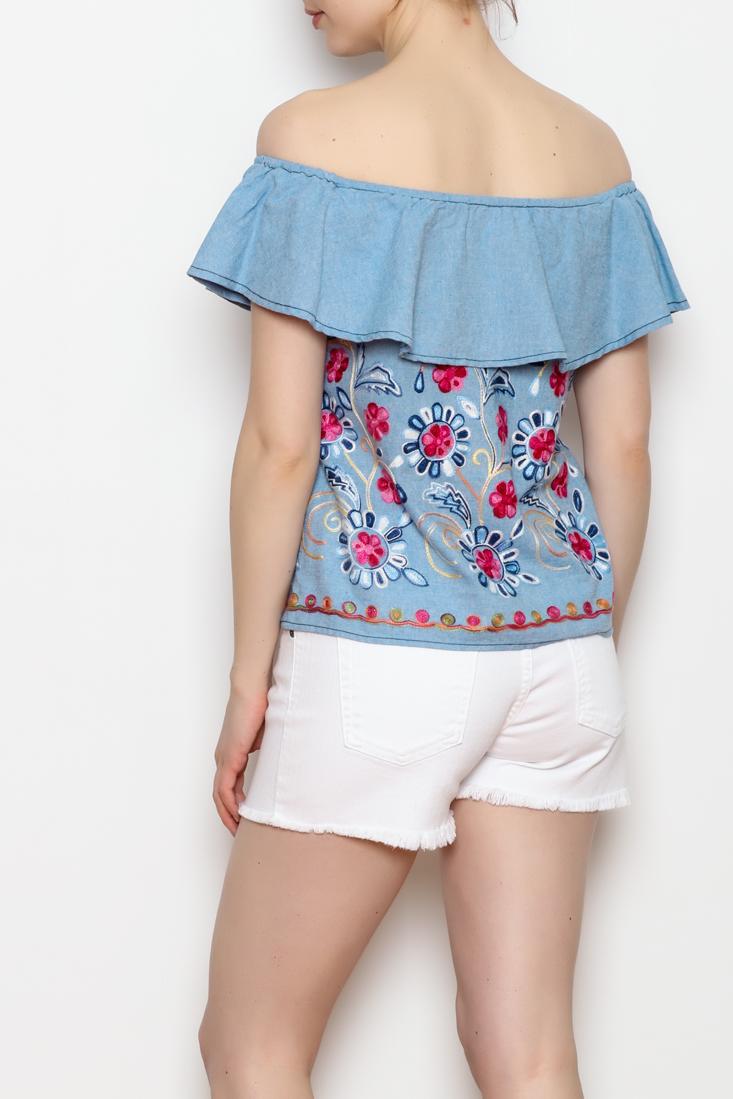 Skies Are Blue Floral Embroidery Top - Back Cropped Image