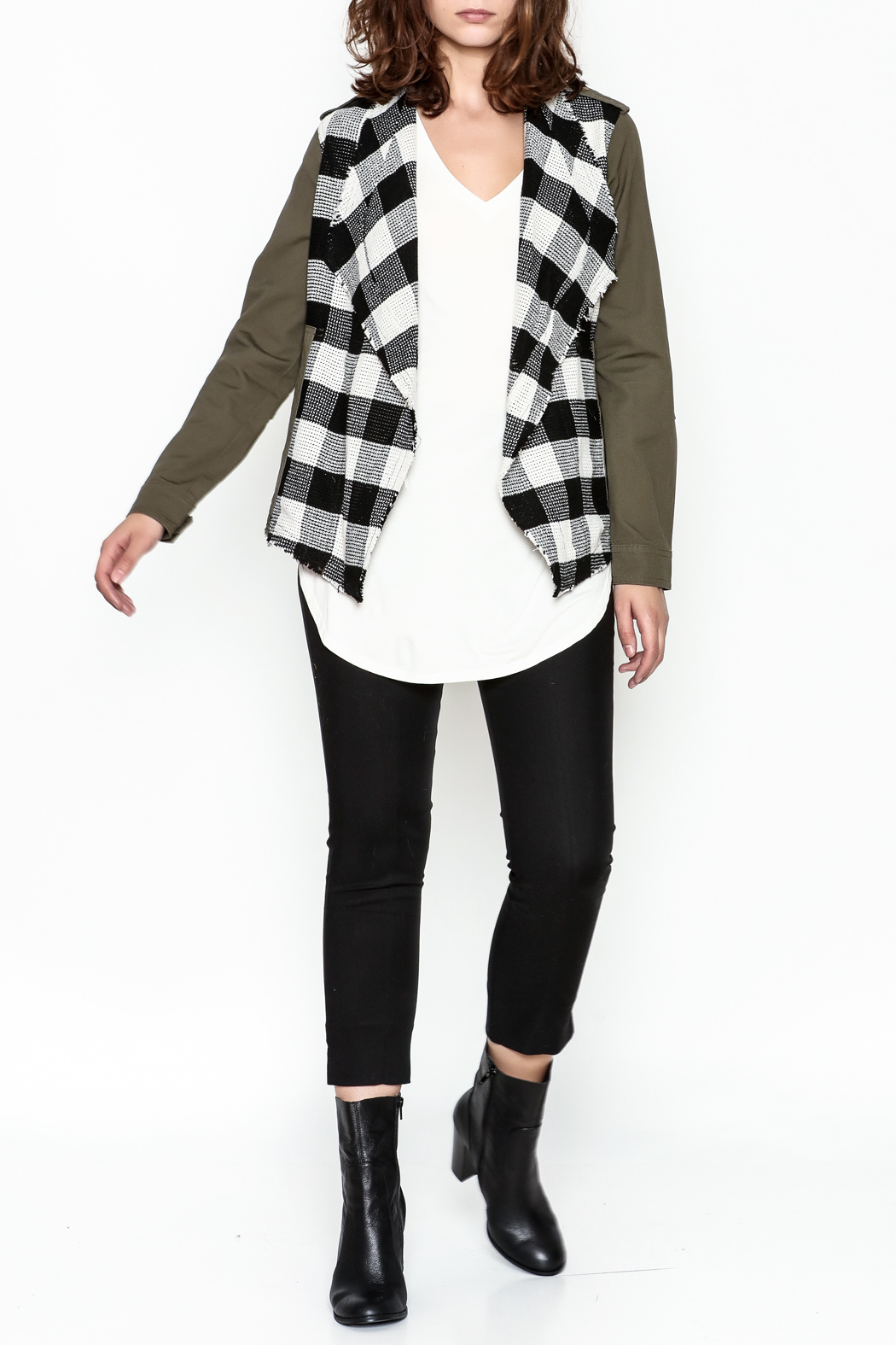 Skies Are Blue Plaid Cargo Jacket - Side Cropped Image