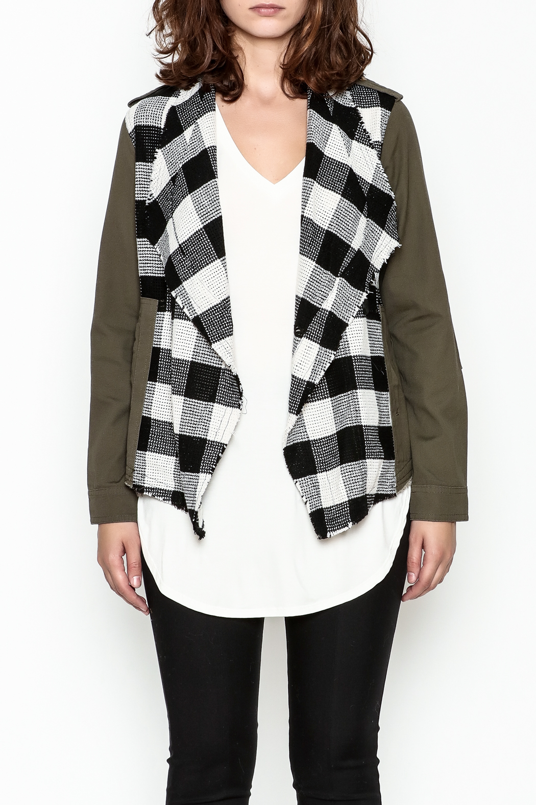 Skies Are Blue Plaid Cargo Jacket - Front Full Image