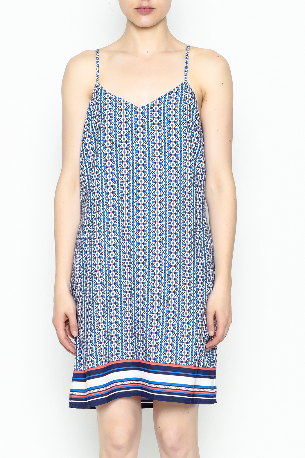 Skies Are Blue Printed Summer Dress - Front Full Image