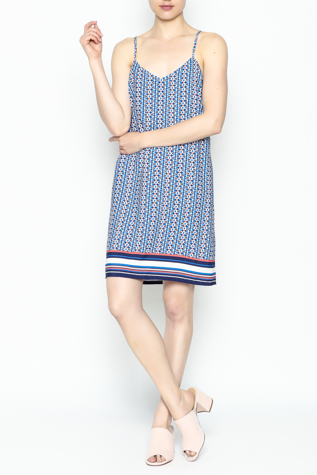 Skies Are Blue Printed Summer Dress - Side Cropped Image