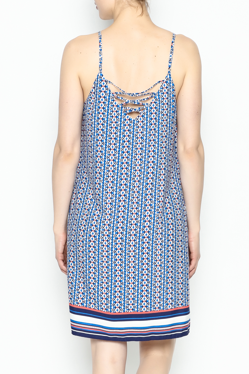 Skies Are Blue Printed Summer Dress - Back Cropped Image