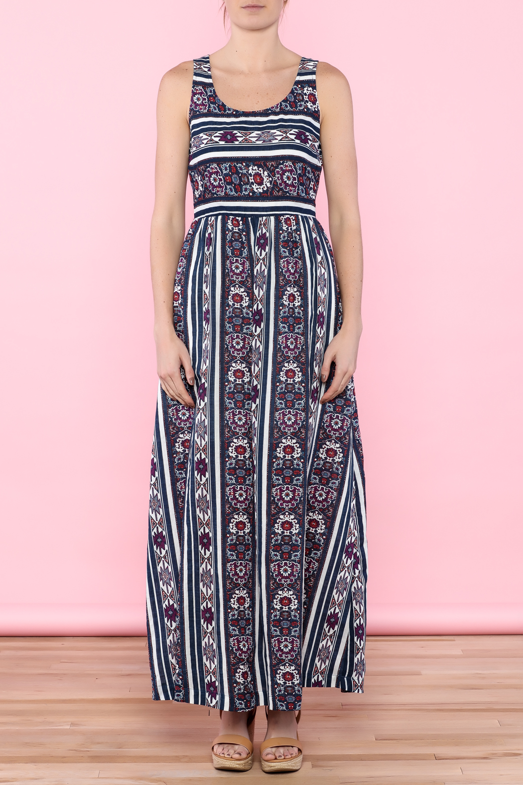 Skies Are Blue Navy Maxi Dress - Front Cropped Image